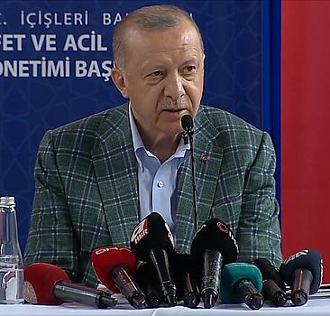 Erdoğan afet bölgesinde açıklama yaptı
