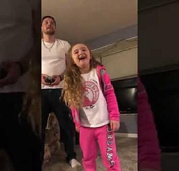 Kızının sallanan dişini drone''la çeken baba.